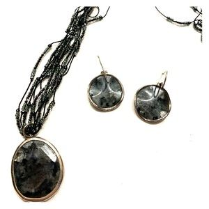 Silpada sterling beaded necklace and earrings set